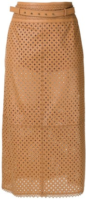 Nk Leather Midi Skirt