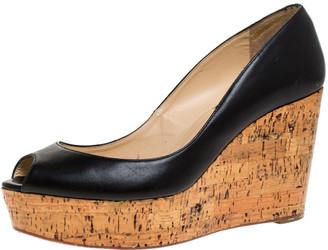 Christian Louboutin Black Leather Coroclic Cork Wedge Peep Toe Platform Pumps Size 39
