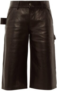 Bottega Veneta Leather Utility Shorts - Womens - Black