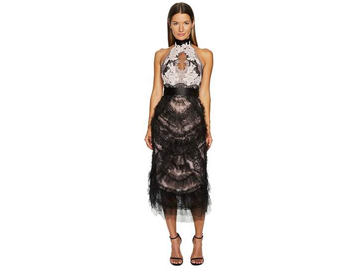 Marchesa Tea Length Cocktail with Corded Lace and Chantilly Women's Dress