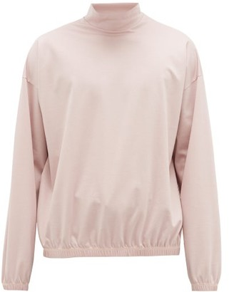 SASQUATCHfabrix. Stand-collar Cotton-jersey Sweatshirt - Mens - Light Pink