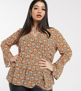 Only Curve smock top with ruffle hem in paisley-Multi