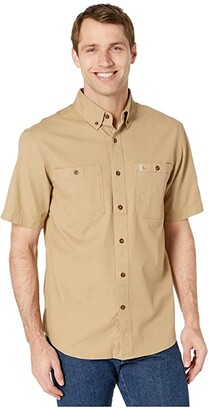 Carhartt Rugged Flex(r) Rigby Short Sleeve Work Shirt (Dark Khaki) Men's Short Sleeve Button Up