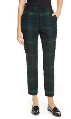 Polo Ralph Lauren Plaid Fringe Detail Straight Leg Wool Blend Pants