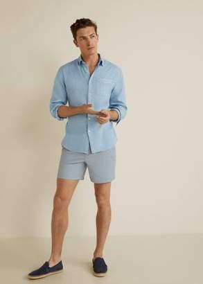 MANGO MAN - 100% linen regular fit shirt sky blue - XXS - Men