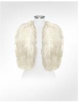 White Mongolian Fur Vest