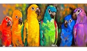 """West of the Wind Pretty Parrots Indoor/Outdoor Art, 48"""" x 24"""""""