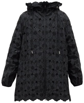 4 Moncler Simone Rocha - Acaena Broderie-anglaise Technical Hooded Jacket - Black