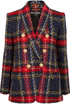 Balmain Tartan Tweed Blazer - Blue