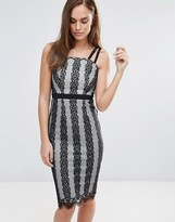 Little Mistress Monochrome Lace Stripe Midi Dress
