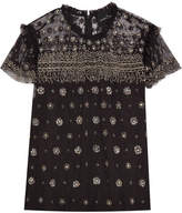 Needle & Thread Andromeda Ruffled Embellished Tulle Top - Black