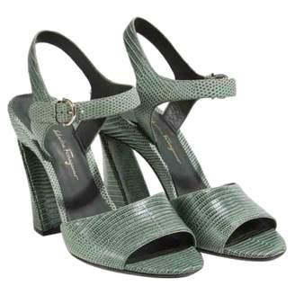 Salvatore Ferragamo Green Lizard Sandals