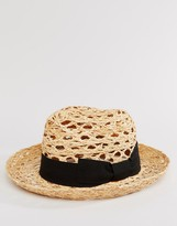 Catarzi Straw Trilby With Black Band