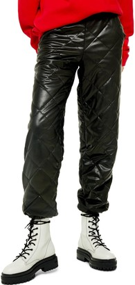 Topshop Quilted Faux Leather Joggers