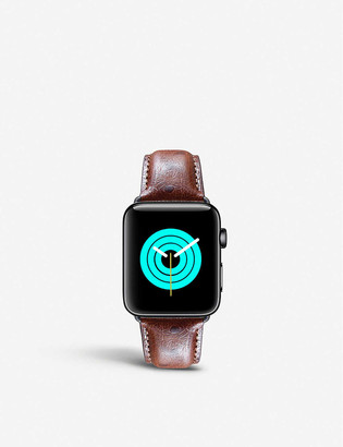 Mintapple Apple Watch ostrich-embossed leather strap and stainless steel case 42mm/44mm