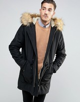 Asos Parka Jacket In Black with Faux Fur Lining