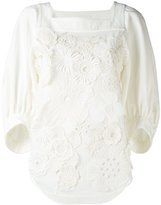 Chloé floral applique blouse - women - Silk/Cotton - 38