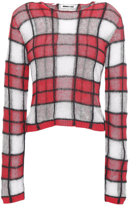 McQ Checked Crocheted Linen-blend Sweater