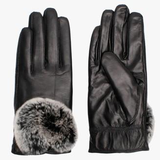 Little Red Black Leather Fur Trim Gloves
