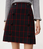 LOFT Tall Plaid Modern Buttoned Skirt
