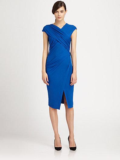 Donna Karan Crossover Draped Stretch Jersey Dress