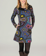 Aller Simplement Navy & Yellow Abstract Tile Cowl Neck Dress