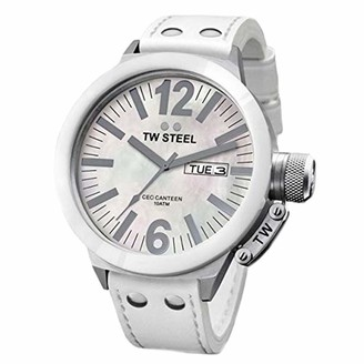 TW Steel Unisex Quartz Watch with Mother Of Pearl Dial Analogue Display and White Leather Strap CE1037