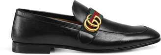 Gucci Leather loafer with Double G and Web