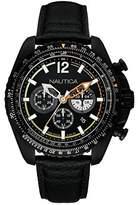 Nautica NAI22506G 46mm Stainless Steel Case Black Calfskin Mineral Men's Watch
