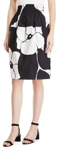 Marc Jacobs Daisy-Print A-Line Cotton Poplin Skirt