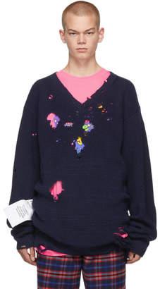 Vetements Navy Tribute V-Neck Sweater
