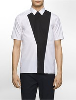 Calvin Klein Platinum Regular Fit Asymmetrical Colorblock Poplin Short-Sleeve Shirt