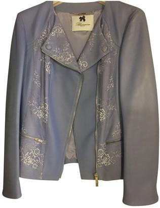 Blumarine Blue Leather Leather Jacket for Women