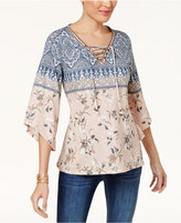 Style&Co. Style & Co Lace-Up Peasant Top, Created for Macy's