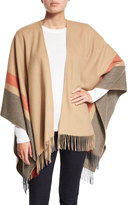 Neiman Marcus Two-Tone Wool Ruana Shawl, Camel/Steel