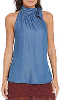 Soulmates Sleeveless Chambray Bow Neck Top