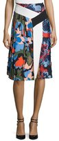 Emilio Pucci Pleated Printed A-Line Skirt, Cornflower Blue