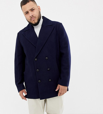 Asos Design DESIGN Plus wool mix double breasted jacket in navy