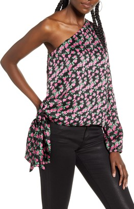 WAYF Wren Rose Print One-Shoulder Satin Blouse