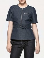 Calvin Klein Platinum Denim Belted Top