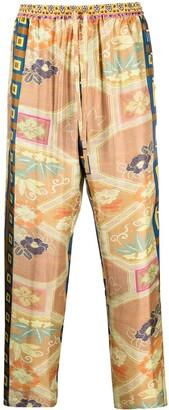 Pierre Louis Mascia Aloe patchwork print silk trousers
