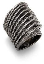 Noir Slip-On Faceted Crystal Ring