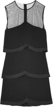 Stella McCartney Tiered Tulle-paneled Pleated Cady Mini Dress