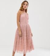 Asos DESIGN Petite lace midi dress with pinny bodice