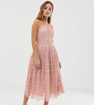 Asos DESIGN Petite lace midi dress with pinny bodice-Pink