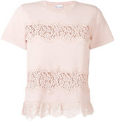 RED Valentino lace applique knitted T-shirt - women - Polyamide/Viscose - M