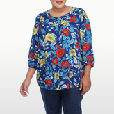 NYDJ Montenegro Garden Printed 3/4 Sleeve Blouse In Plus