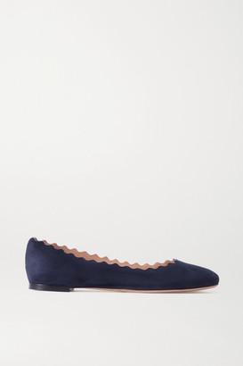 Chloé Lauren Scalloped Suede Ballet Flats - Navy