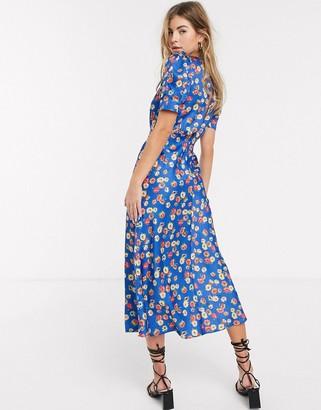 Asos Design DESIGN midi tea dress in bright floral print-Multi