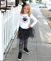 Beary Basics White & Black Glitter Spider Tee & Skirt - Toddler & Girls